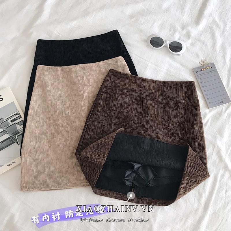 Chân Váy Chữ A Lưng Cao Kiểu Cổ Điển Phong Cách Hàn Quốc Xiaozhainv