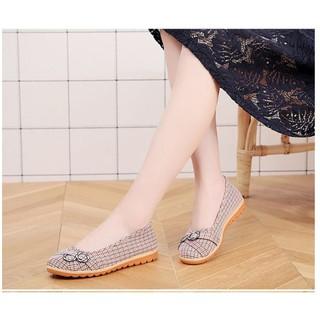 Giày búp bê nữ, giày oxford vải caro cao 2cm đi bộ cực êm chân V220