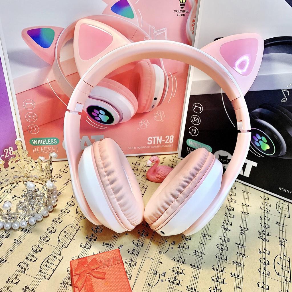 Tai nghe bluetooth, tai mèo chụp tai cao cấp dễ thương, có mic đàm thoại -  Headphone bluetooth có đèn LED, chống ồn tốt giá cạnh tranh