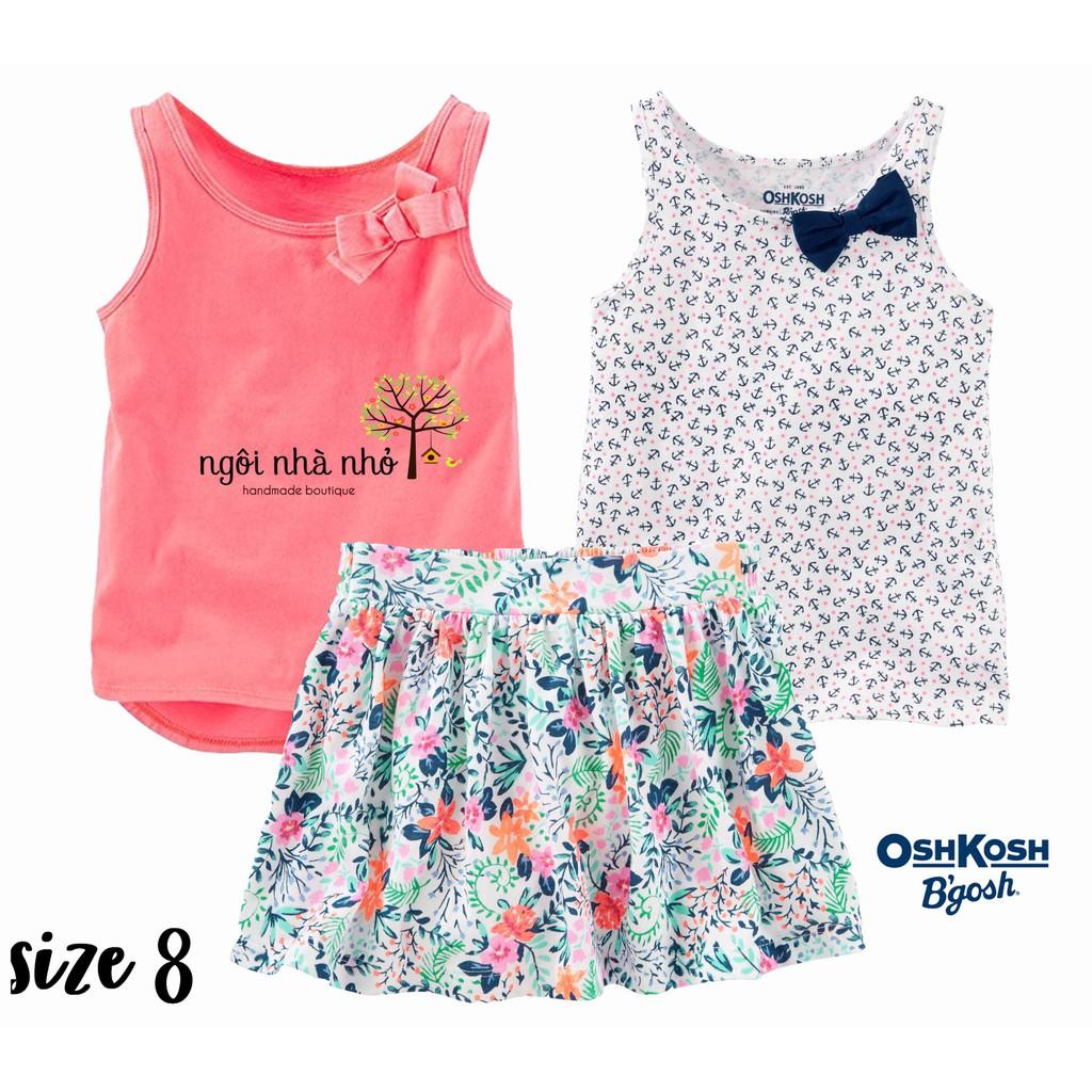 Set 2 áo ba lỗ + 1 chân váy Oshkosh size 8 cho bé gái