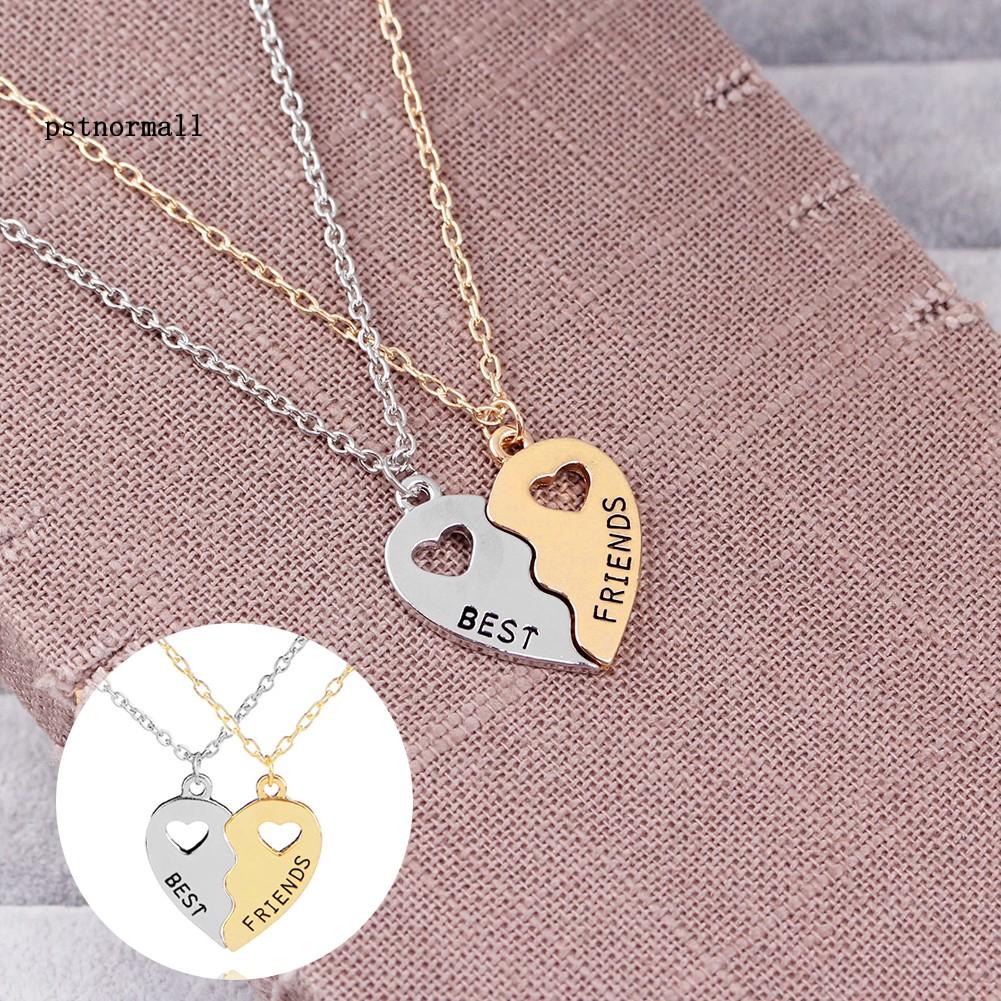 Dây chuyền tình bạn mặt nửa trái tim ghép đôi khắc chữ