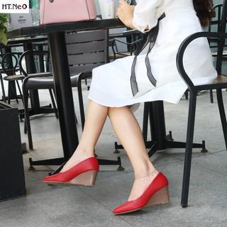 Giày da nữ - giày đế xuồng nữ HT.NEO da bò sịn cực mềm mại đế xuồng sang chảnh cực đẹp, đế cao 7cm (CS69) thumbnail