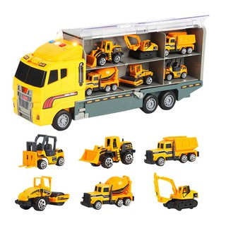 Transport Carrier Truck Toy, Car Transporter With 6 Colorful Mini Metal Cars