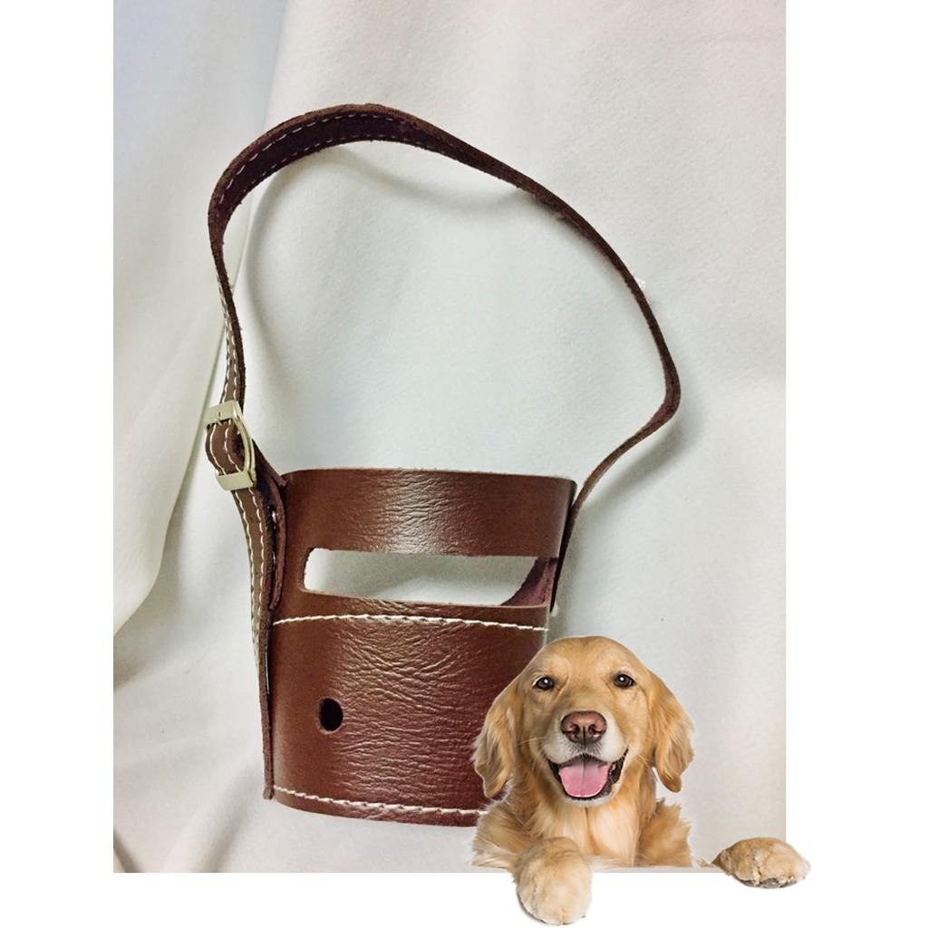 Rọ mõm chó mèo bằng da loại mõm dài - 4 loại cho chó mèo từ 2- 25kg (hanpet 605d)|Chu vi mõm 36-40cm