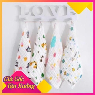 Set 5 khăn mặt xô 6 lớp rửa mặt cho bé