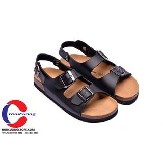 Giày sandal 2 khóa da pu đế trấu(tĐen)