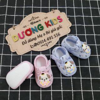 Giày tập đi cho bé trai và bé gái có chống trượt đế vải mềm mẫu hình cún con DK0201C thumbnail