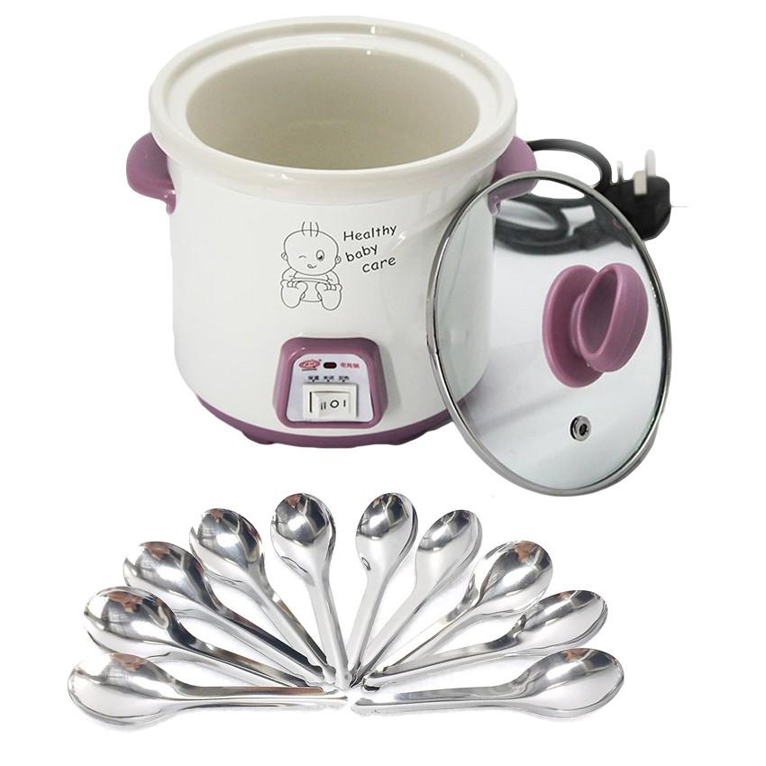 Nồi tiềm yến 0,7 lít ( nắp kính hồng ) tặng kèm 10 muỗng súp