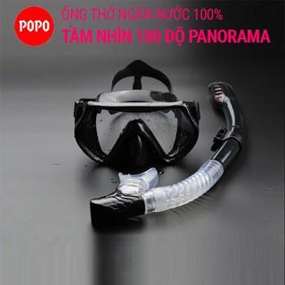 Mặt Nạ Lặn Ống Thở Mắt Kính Cường Lực POPO 1526 góc nhìn 180 độ PANORAMA, Ống Thở Ngăn Nước Cao Cấp