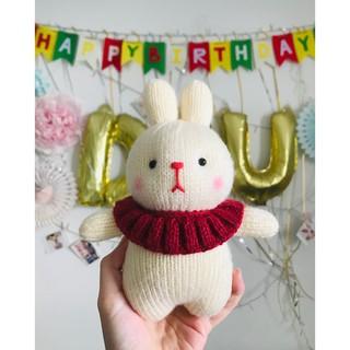 Thú len nhồi bông – Thỏ trắng lùn quàng khăn đỏ xinh xắn trang trí nhà búp bê ( có thể order màu sắc bạn thích)