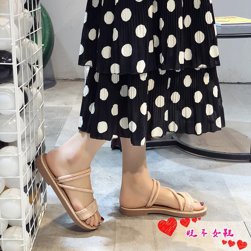 ☆spot stock ☆One-word sandals and slippers women wear 2019 s