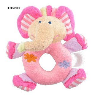 ♕Baby Infant Kids Gifts Cute Soft Pink Elephant Plush Rattle Educational Toys