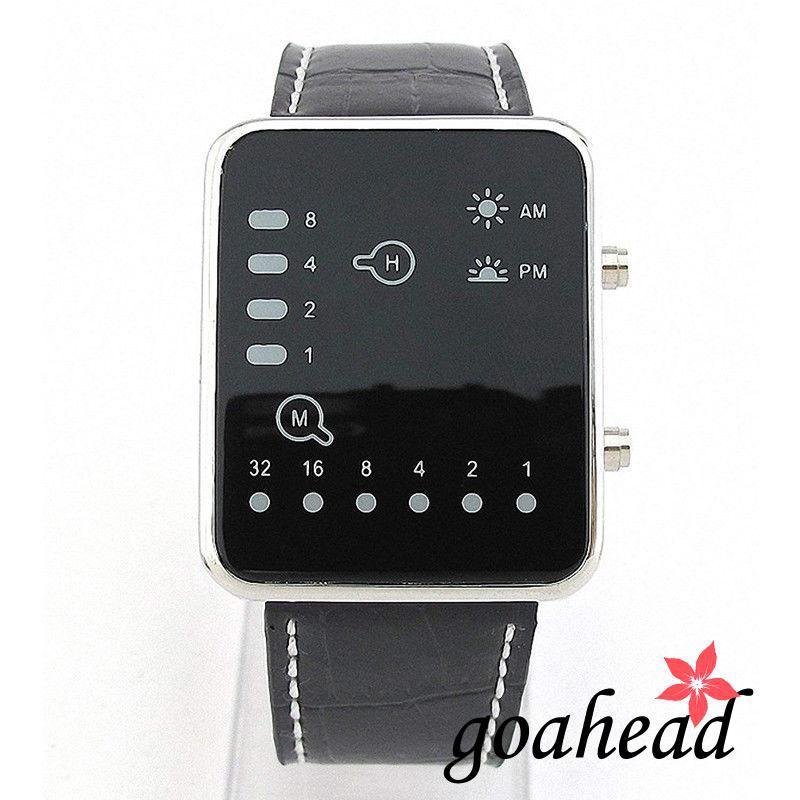 Đồng hồ điện tử màn hình LED với dây đeo giả da , màn hình hiển thị giờ
