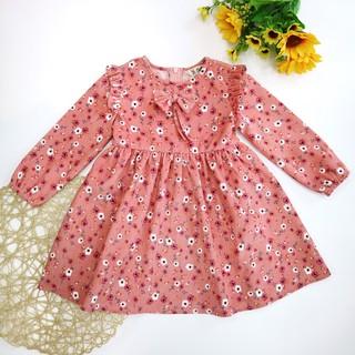 Váy Thu Đông Nhung Hoa Bé Gái 10-34kg Nơ Ngực, Bèo Vai SILBER KIDS