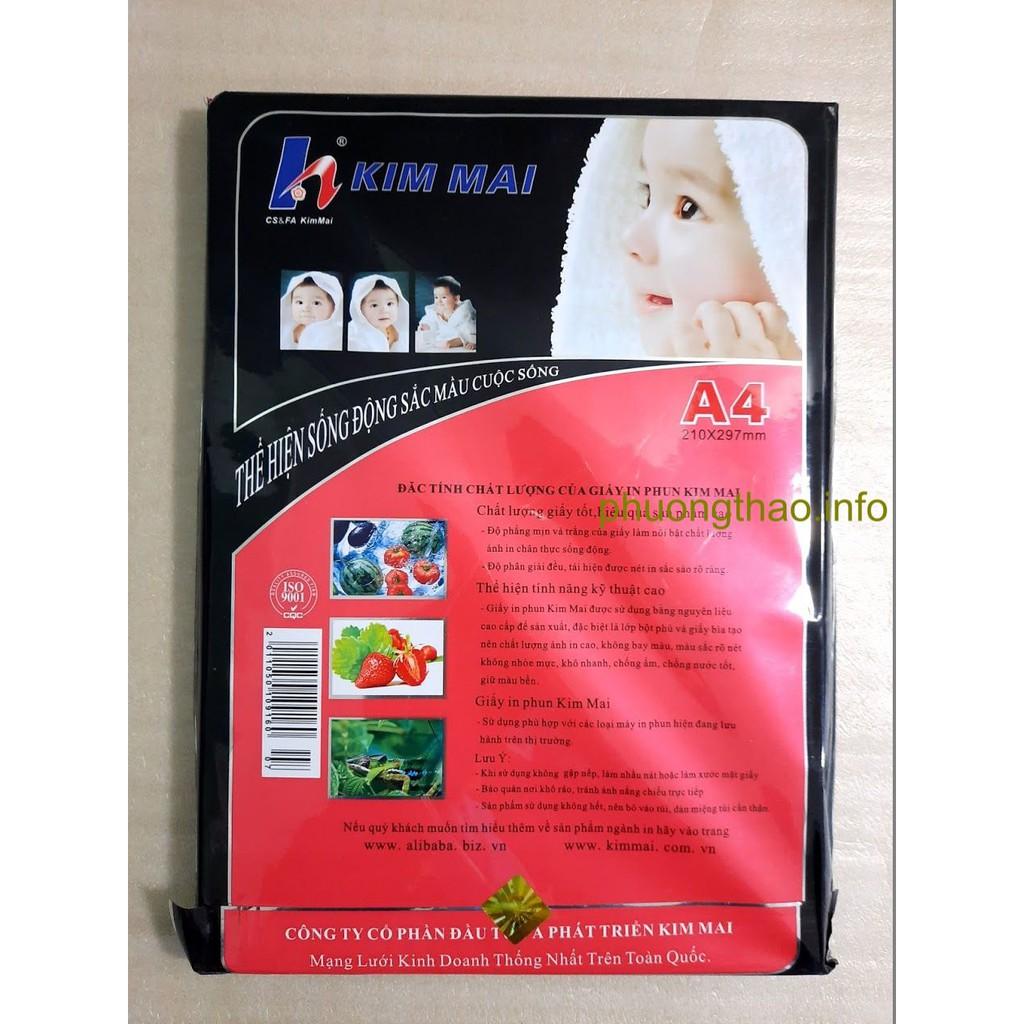 Giấy in ảnh Kim Mai, giấy couche bóng 2 mặt 160,200,220,300g A4 50 tờ/ xấp