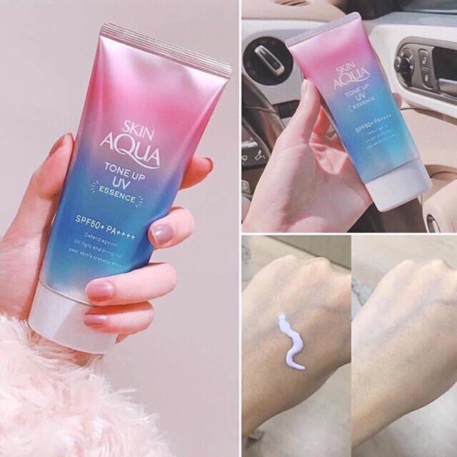 Kem chống nắng Skin Aqua Tone Up UV Essence SPF 50 Nhật Bản | Shopee Việt  Nam