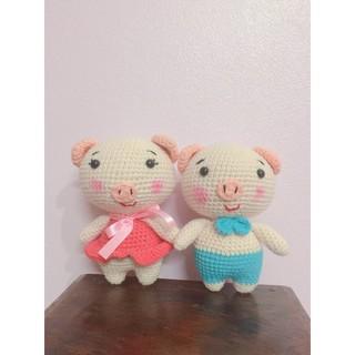 Thú len handmade nhồi bông: heo, thỏ xinh xắn