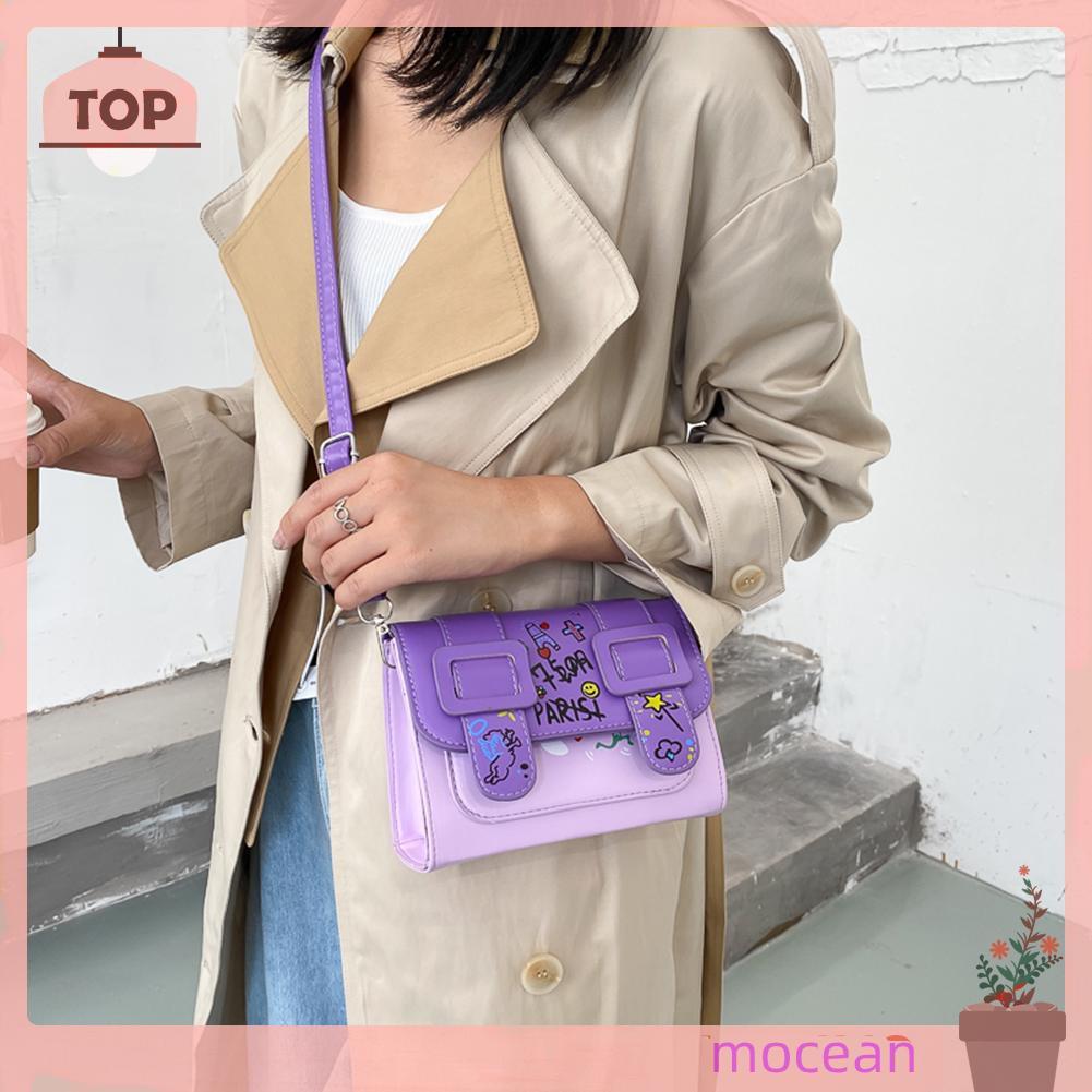 Túi đeo chéo bằng da PU in họa tiết Graffiti thời trang cho nữ