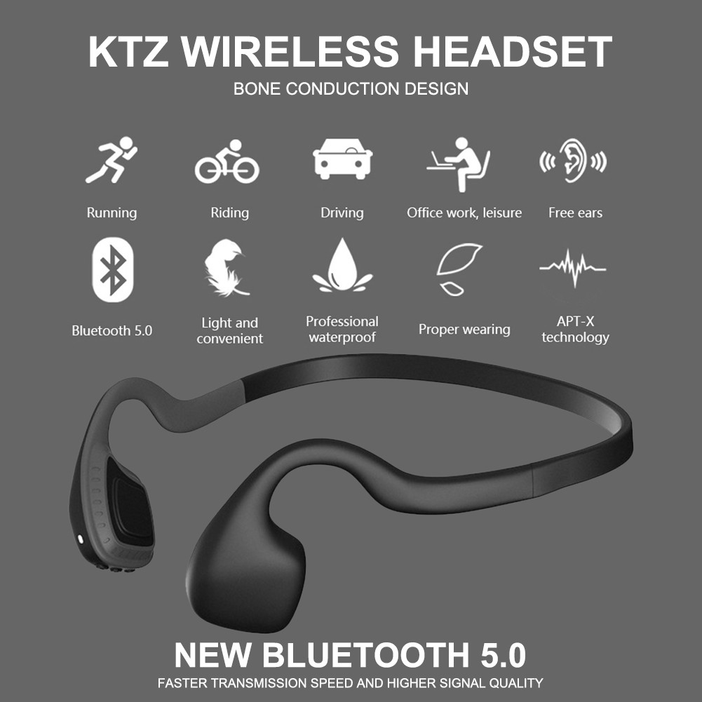 PUR KTZ Bluetooth 5.0 Headset Bone Conduction Running Headphones Rear Neck Mounted Earphones