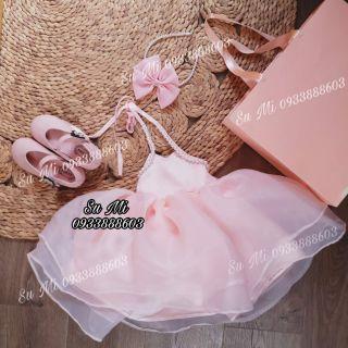 Đầm công chúa yếm hồng siêu phồngcho bé (Tặng cài)