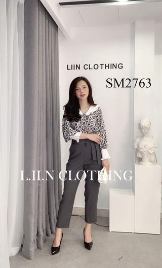 Áo Voan Xám Cổ Trắng LINBI Clothing SM2763