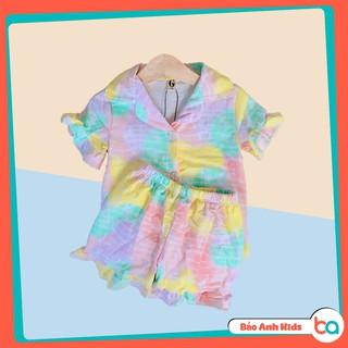 Bộ Pijama Cho Bé Gái, Bộ Ngủ Cộc Tay Bèo Nhiều Màu Sắc Chất Cotton Cao Cấp Mềm Mịn Cho Bé (9-20kg)