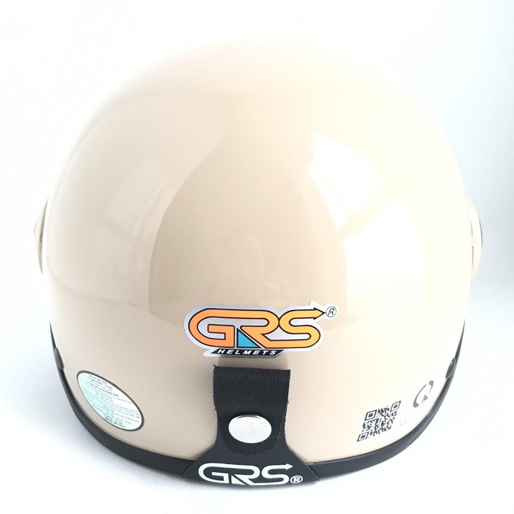 Mũ bảo hiểm nửa đầu có kính - Dành cho người lớn vòng đầu 56-58cm - GRS A33K - Sữa Bóng - Nón bảo hiểm Nam - Bảo hiểm Nữ