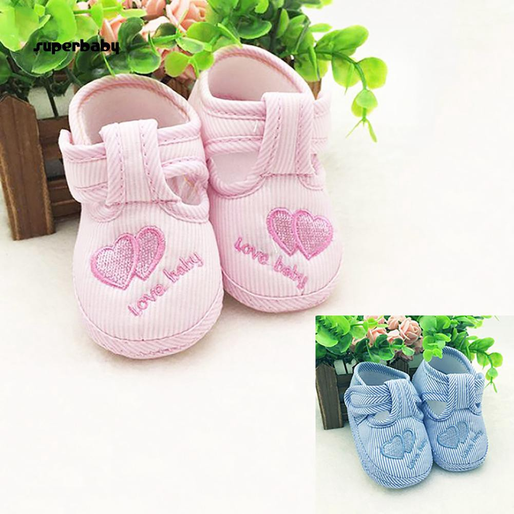SBaby-Cute Toddler Infant Love Heart Striped Soft Sole Newborn Baby Walking Shoes
