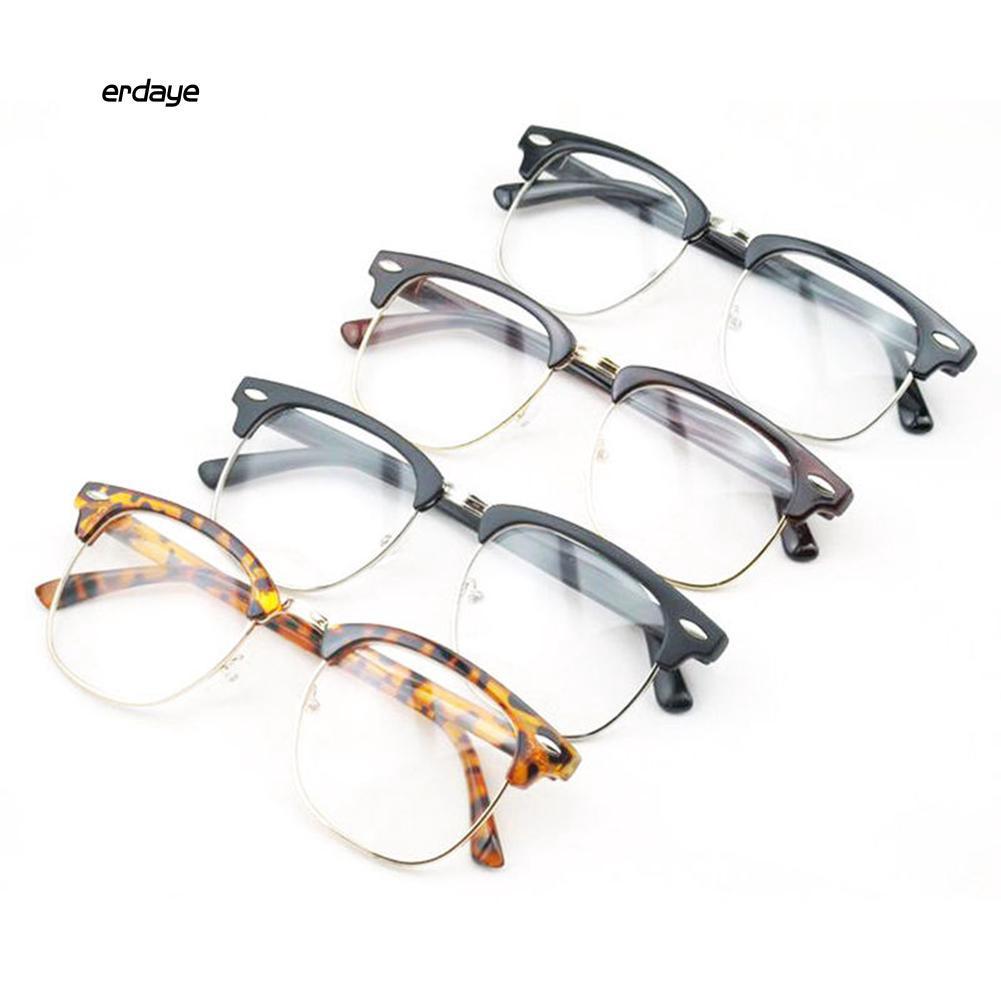Mắt kính gọng nửa lens trong suốt thời trang trẻ trung cho nam/nữ