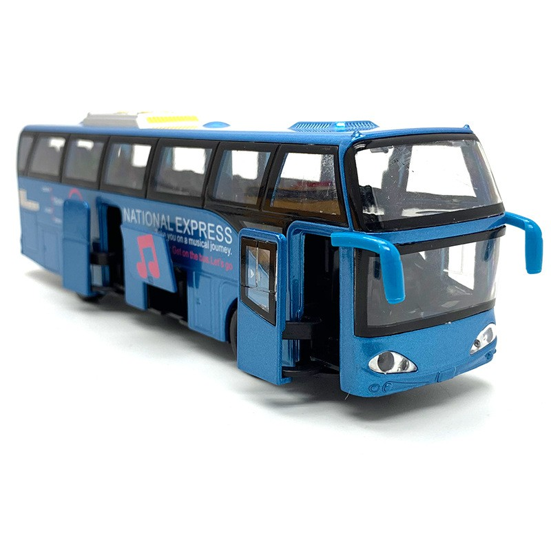 1:32 Alloy Car els,High Simulation City Bus,Diecast, Toy Vehicles, Pull Back & Flashing & Musical,Blue