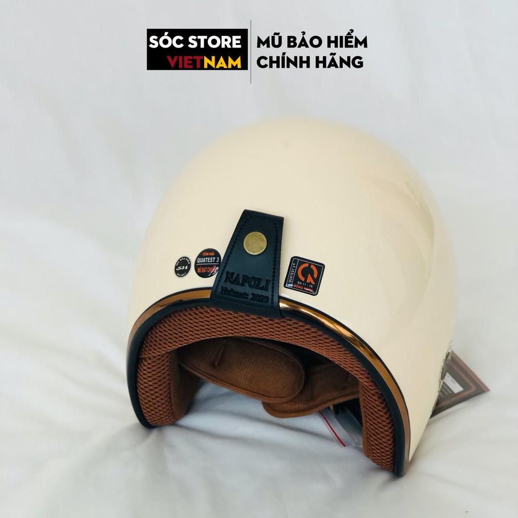 Mũ bảo hiểm 3 phần 4 chính hãng Napoli màu trắng sữa, nón bảo hiểm 3 phần 4 nam nữ Sóc Store freesize