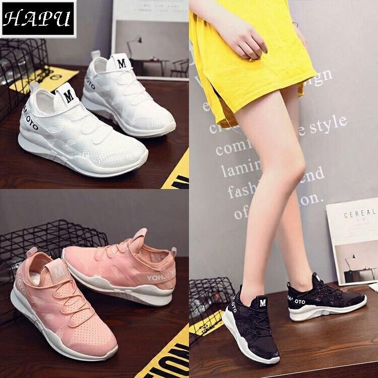 [FREE SHIP] Giày sneaker nữ chữ M siêu hot (đen, trắng, hồng cam)