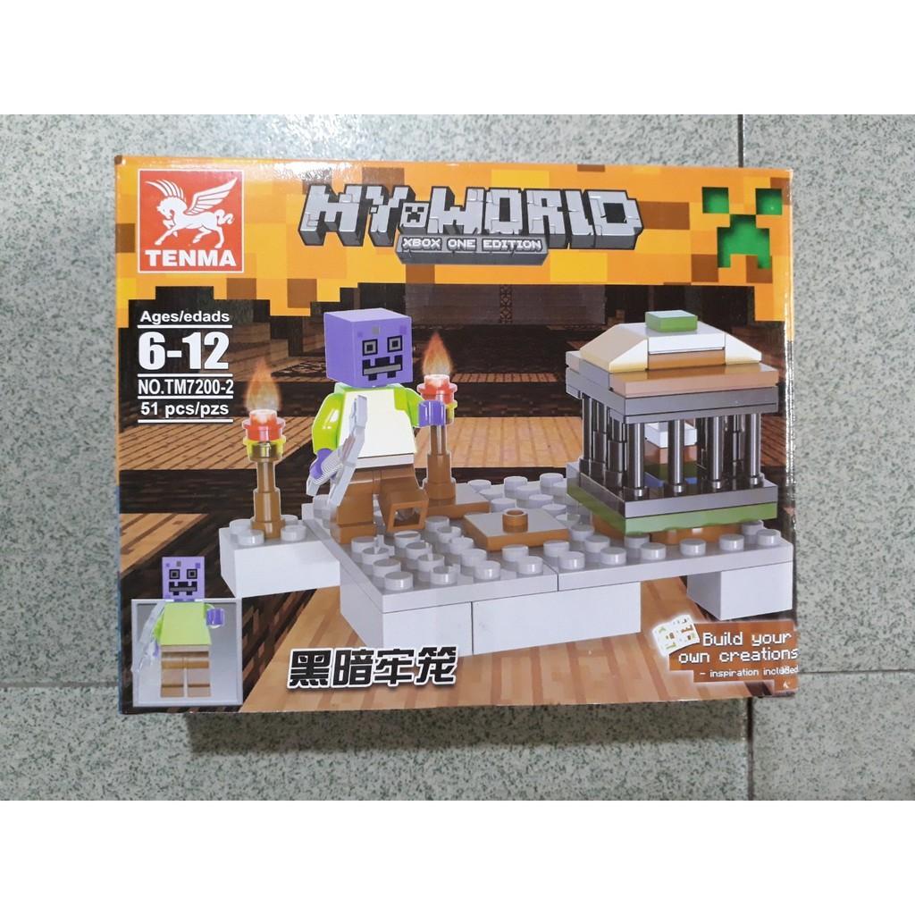 Bộ 4 hộp xếp hình lắp ráp minecraft Tenma 7200-1-4 đơn giản cho bé