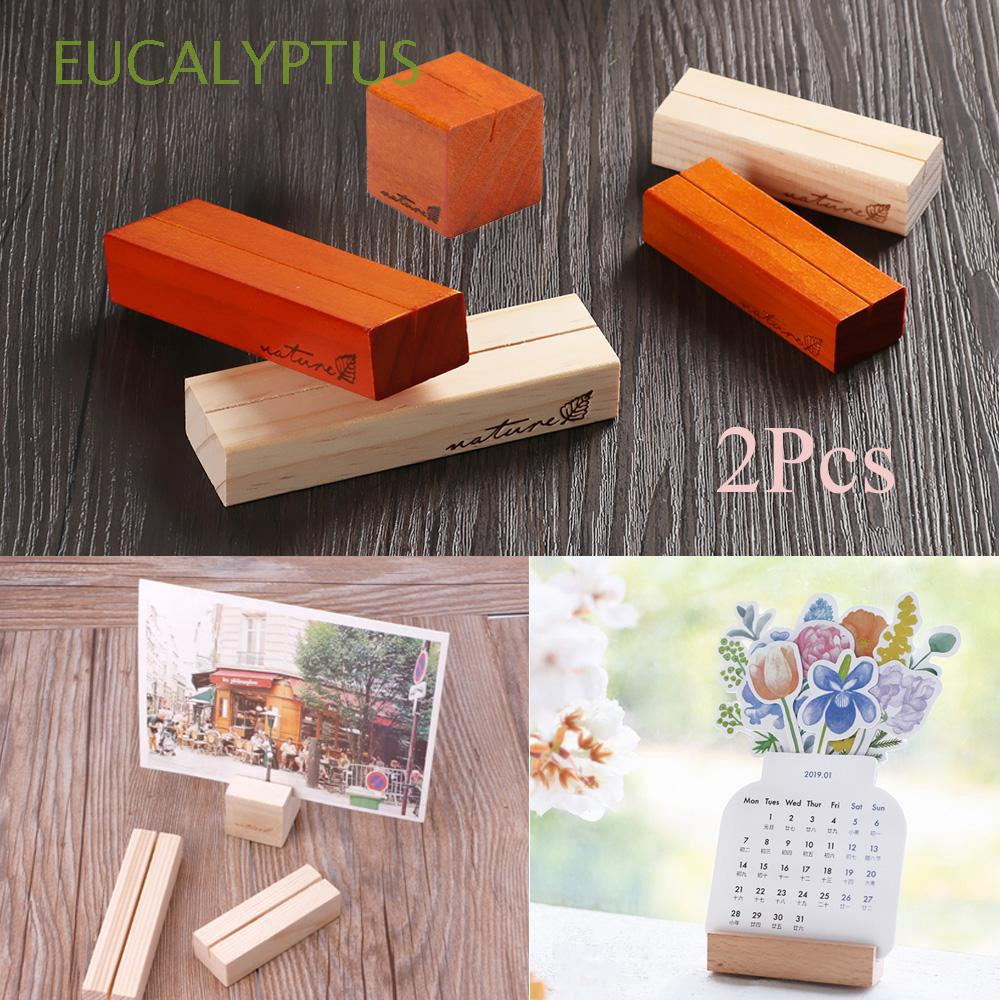2Pcs Home Decor Party Stationery Organizer Photography Props Gadget Gift Wooden Card Holders