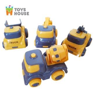 Set 4 ô tô trớn đà mô hình xây dựng Toys House 709C