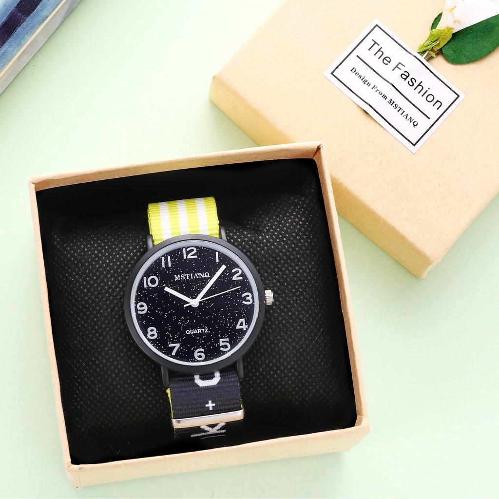 Đồng hồ nam nữ MSTIANQ dây dù cực bền, mặt số kim tuyến cực đẹp ( Mã: A