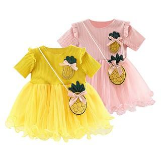 Đầm xòe phối vải dệt kim và vải voan phối quả dứa dễ thương cho bé