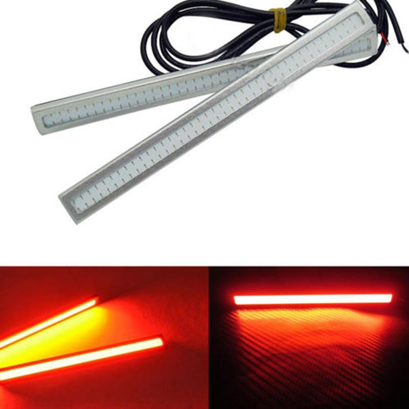 2pcs Red COB LED Lights 12V For DRL Fog Driving Lamp Waterproof Brake Daylight Running Light For Car