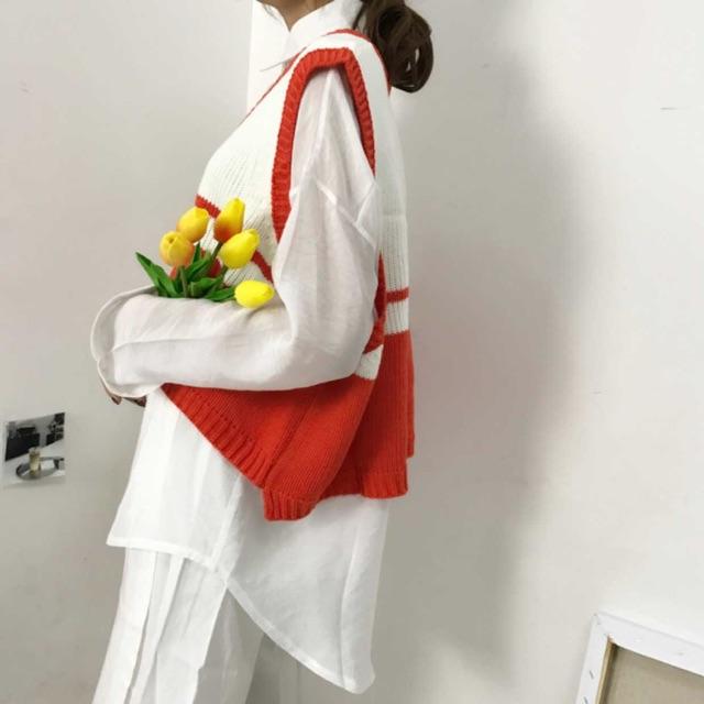 Áo GiLe đỏ kẻ - sẵn + tặng áo sơmi 2hand