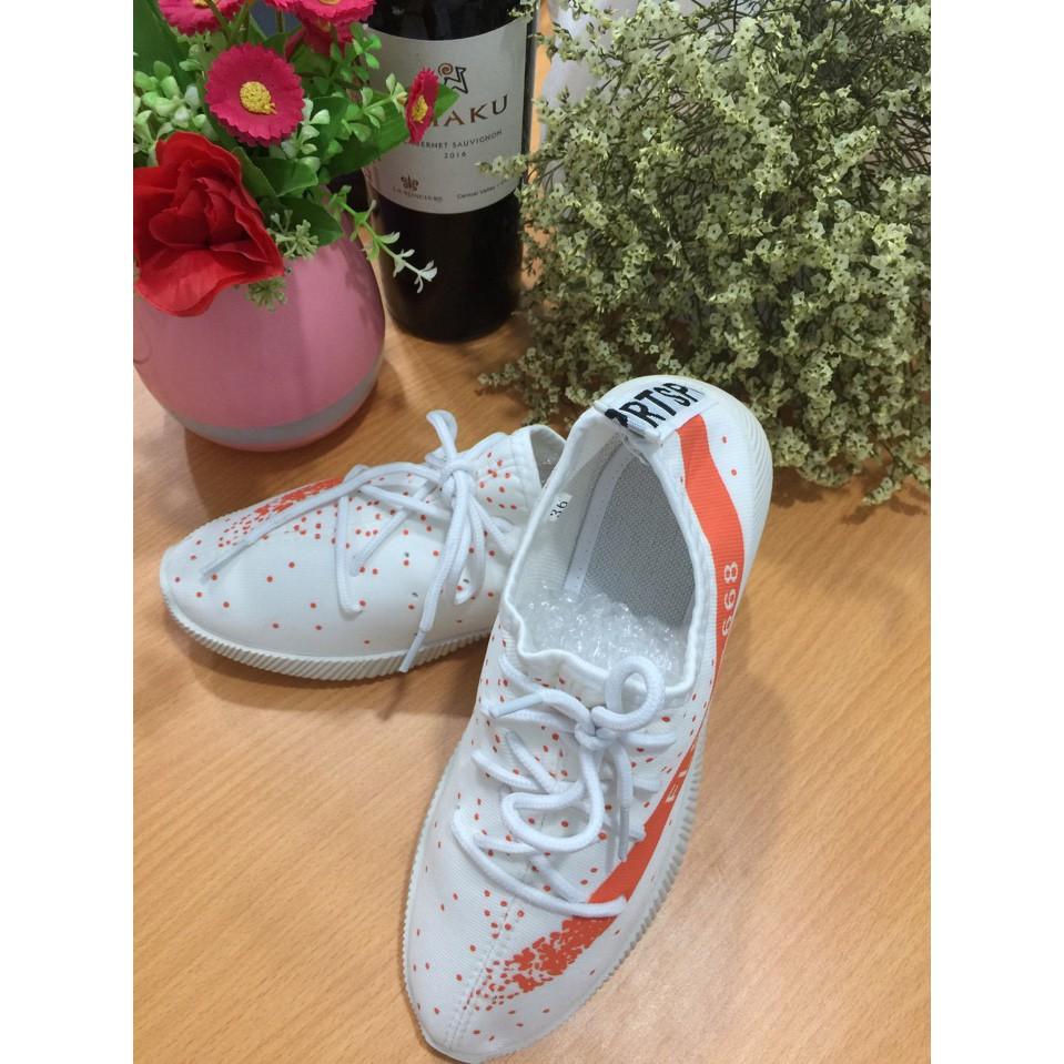 Giày sneaker thời trang nữ cao cấp trắng cam vrg1368