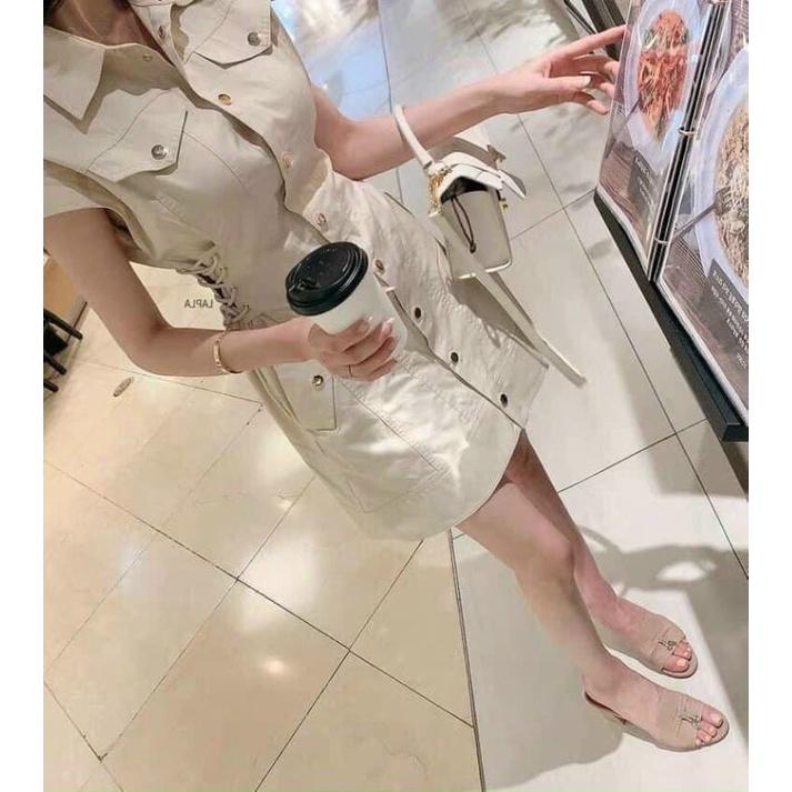 Váy kaki dây đan eo