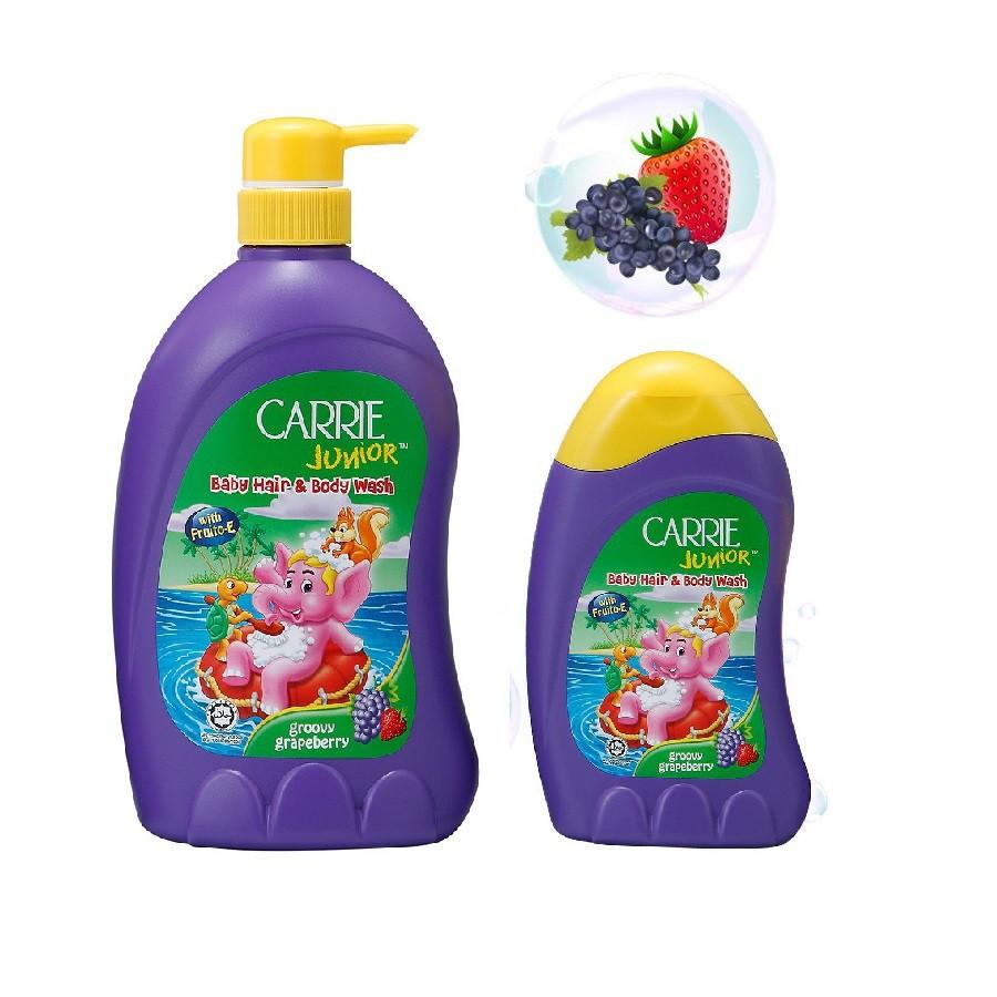 Sữa Tắm Gội Carrie Junior Hương Grapeberry cho bé 700g + Sữa tắm Grapeberry 280g