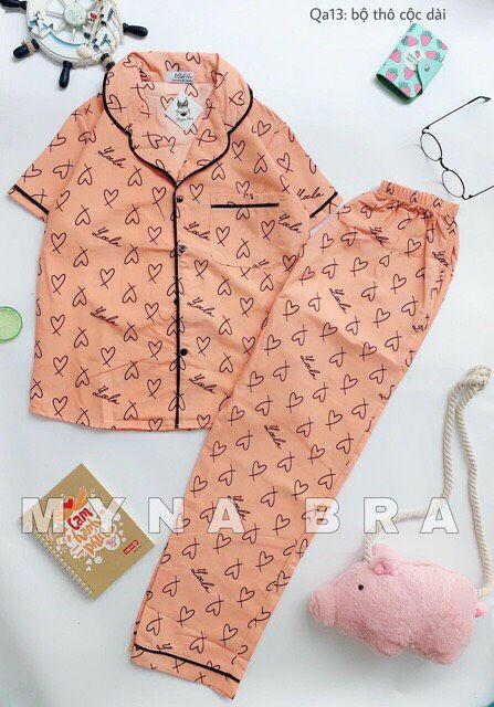 Bộ pijama nữ quần dài tay cộc