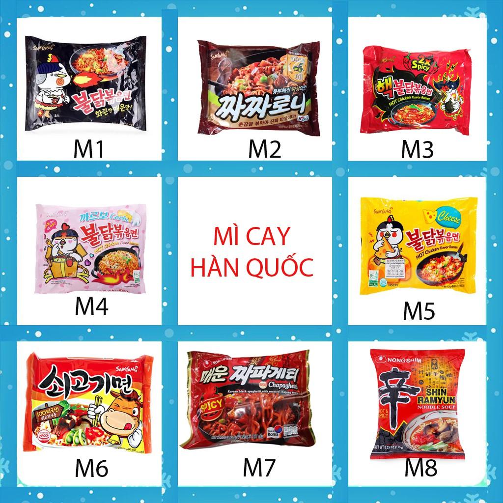 Mì cay Hàn Quốc, Mỳ cay Samyang, Nongshim Indomie 1 gói, Neoguri khô nước, topokki, tương đen Mì không gia vị  Am