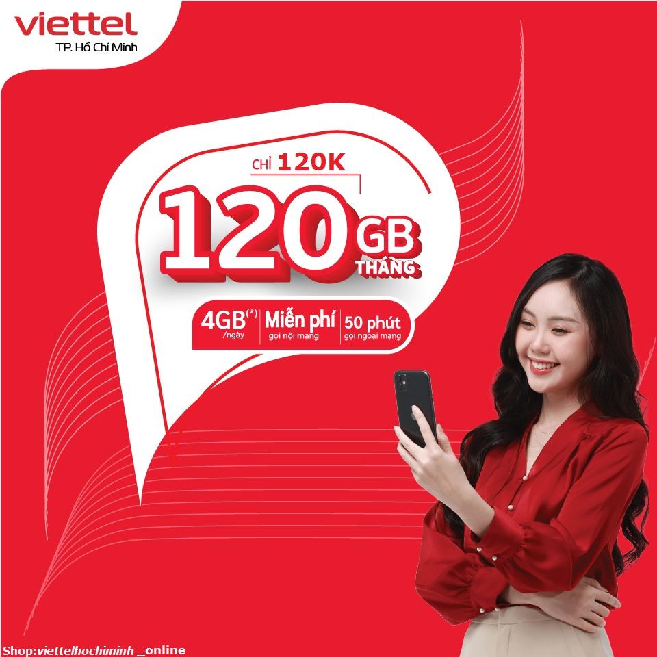 {TRỌN GÓI 30 NGÀY}Sim 4G Viettel gói V120 120GB/Tháng {4GB/Ngày} miễn phí gọi nội mạng