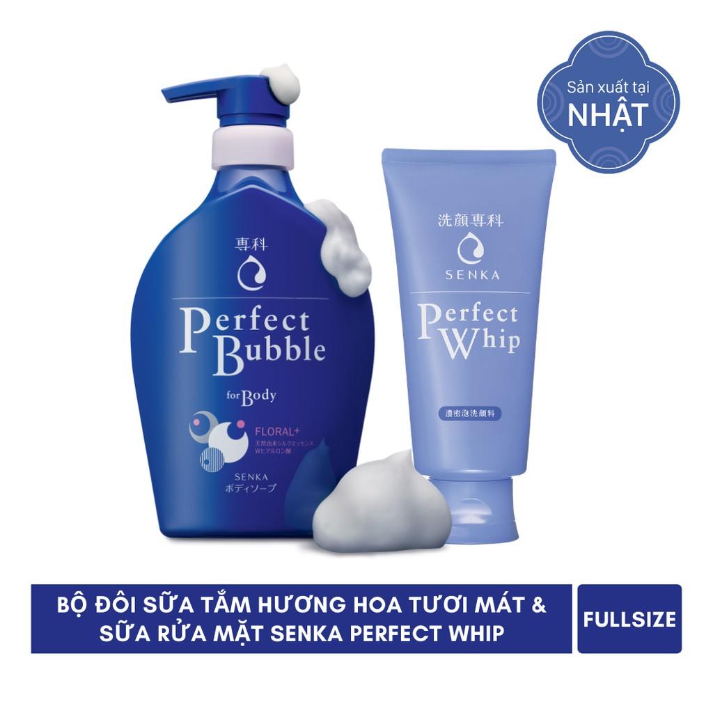 [Mã COSMALL25 -10% ĐH 250K]Bộ đôi Sữa tắm hương hoa tươi mát 500ml & Sữa rửa mặt Senka Perfect Whip 120g_95205