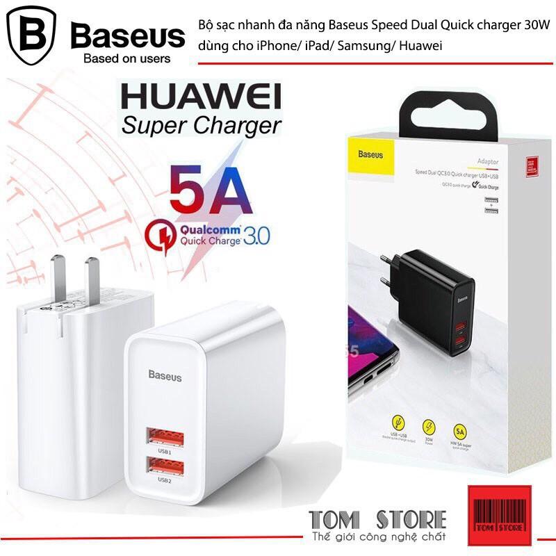 Cốc sạc nhanh đa năng Baseus Speed Dual Quick charger 30W dùng cho iPhone/ iPad/ Ss/ Huawei (2 Port, Dual USB QC3.0)