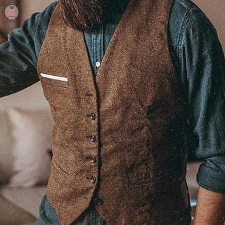 Men's Suit Mens Men's Tweed Formal Business Lapel Suit Herringbone Vest Top Slim Retro Casual Sleeveless V-Neck Vintage