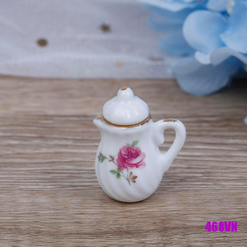 [DOU]15Pcs 1:12 Dollhouse miniature tableware porcelain ceramic coffee tea cups set