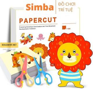 Cắt giấy thủ công sáng tạo 100 Hình đồ chơi Simbaba kèm 2 kéo an toàn giúp bé luyện cắt giấy